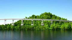 Big concrete bridge on island over sea. Realistic flying animation. 4k footage Stock Footage