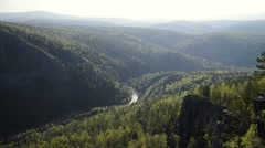 Beautiful view to the river from the top of the mountain, amazing landscape Stock Footage