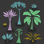Vector hand drawn illustration with cute cartoon doodle palm trees and flowers Stock Illustration