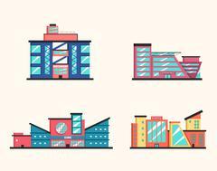 Set of public buildings. Modern architecture. Flat vector illustration. Stock Illustration