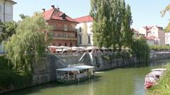 The Ljubljanica river in the center of Ljubljana Stock Footage
