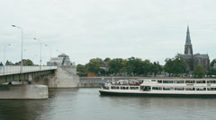 WIDE FIXED Long passenger ship on a lake Meuse, Maastricht, Netherlands Stock Footage