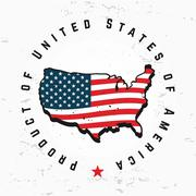 Made in USA monogram vector. Vintage America logo design. Retro United States Stock Illustration