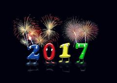 Illustration of animated 2017 numerals with fireworks Stock Illustration