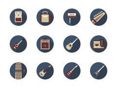 Guitar stuff round color vector icons Stock Illustration