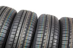 Car tires on white background. Stock Photos