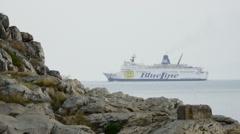 Adriatic sea. Boat near seaside editorial Time Lapse Stock Footage
