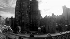 Black and white scene of urban metropolis and street traffic  Stock Footage