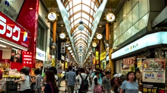 Tokyo - Hyperlapse of crowded Nakano Sunmall covered shopping street. 4K Stock Footage