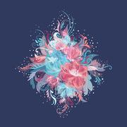 Enchanted Flowers Vignette in Pink and Blue Colors Stock Illustration