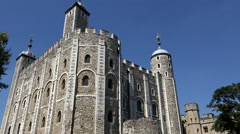 Great Britain England capital city Tower of London side view of main building Stock Footage