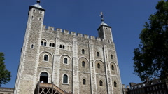 Great Britain England city of London the white tower against blue sky Stock Footage