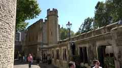 Great Britain England capital city Tower of London walkway in historic castle Stock Footage