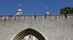 Great Britain England capital city Tower of London fortress wall and gate Stock Footage