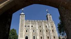 Great Britain England London Royal Castle White Tower main Building Stock Footage