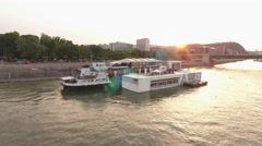 Aerial view of river boat bar and restaurant - Budapest, Danube river, Hungary Stock Footage