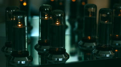 Extreme CU of a valve amplifier or tube amplifier Stock Footage