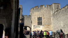 Great Britain England Tower of London tourists between the fortress walls Stock Footage