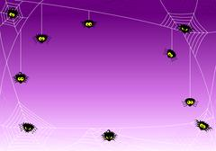 Spooky halloween background with spiders in net Stock Illustration
