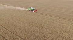 Flight over harvester wheat rye field aerial 4k video. Combine harvest farm Stock Footage