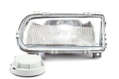 Car lights on white background. Stock Photos