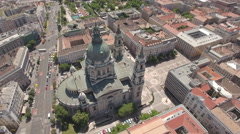 Aerial shot of Budapest downtown - St. Stephen's basilica, Hungary Stock Footage