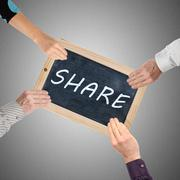 Word share written ona  chalkboard Stock Photos