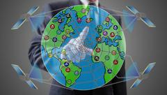 Global web network concept shown by a businessman Stock Photos