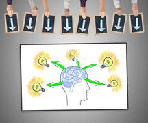 Human brain ideas concept on a whiteboard Stock Photos