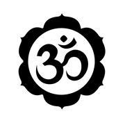 Om, or Aum sign in mandala round shape isolated Stock Illustration