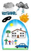 Protection against damage concept on white background Stock Illustration