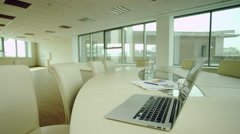 Working place with laptop Stock Footage