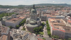Aerial view of Budapest downtown - St. Stephen's basilica, Hungary Stock Footage