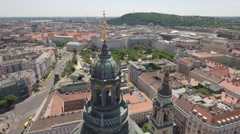 Aerial view of Budapest downtown - St. Stephen's basilica tower, Hungary Stock Footage