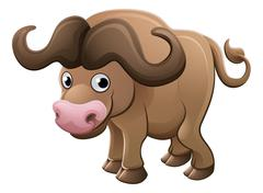 Bison Buffalo Animal Cartoon Character Piirros