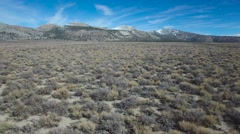 Beautiful aerial shot over desert sagebrush reveals the Mono volcano cones in Stock Footage
