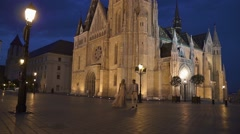 Gorgeous wedding couple have a romantic walk in magnificent Budapest at hot Stock Footage