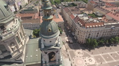 Aerial shot of Budapest - St. Stephen's basilica, Hungary Stock Footage
