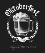 Oktoberfest lettering with beer glass Stock Illustration