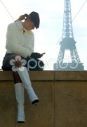 Woman with mobile phone, Eiffel Tower, Paris, France Stock Photos