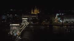 Magnificent aerial view ofFamous building of Hungarian Parliament. Neogothic Stock Footage