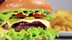 Beef burger meal close up french fries Stock Footage