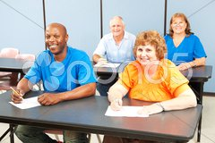 Happy Smiling Adult Education Class Stock Photos