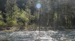 Beautiful mountain river bank in summer, view from boat, rafting Stock Footage