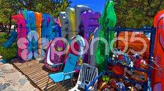 Colorful beach equipment Stock Photos