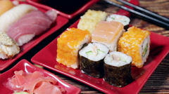 Fresh Japanese sashimi and rolls Stock Footage