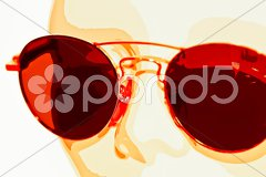 China head with red sun glasses Stock Photos