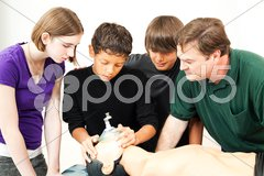 Heath Education - Oxygen Mask CPR Stock Photos