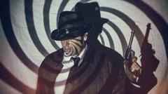 Retro Detective Spy With Gun Swirl Stock Photos