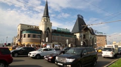 Cars on the background Leningrad railway station in Moscow Stock Footage